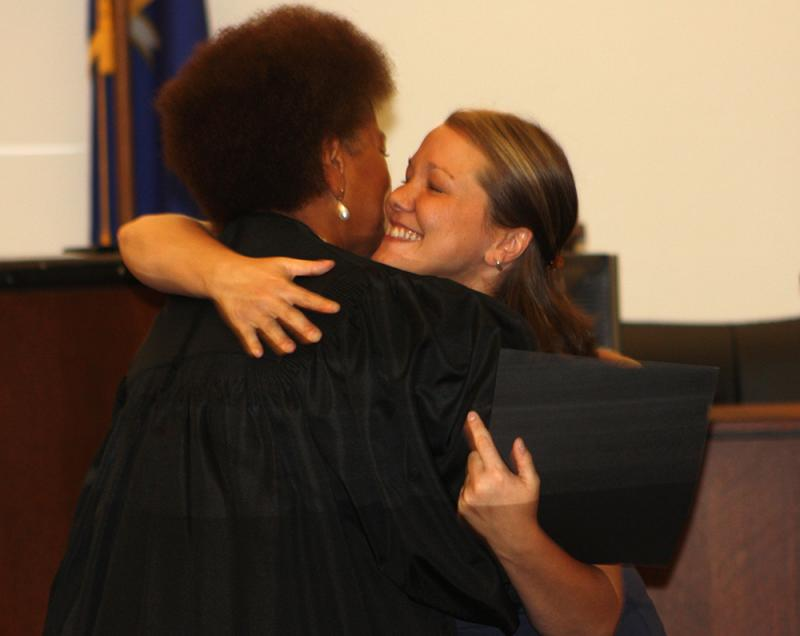 Jaimie, right, graduated in July from Support Court in Hartford.