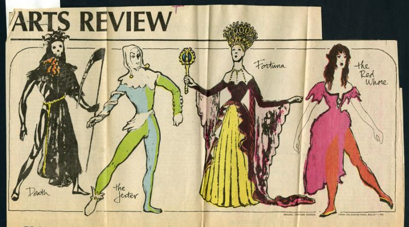 Costume design sketches from the Chilean National Ballet production of Carmina Burana. Newspaper article, 1978.
