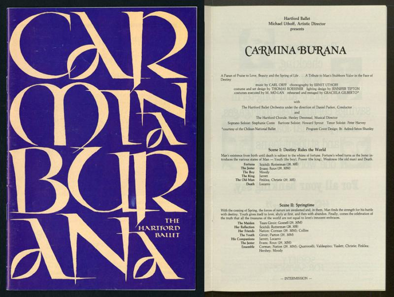 Theater program for Carmina Burana, 1986.