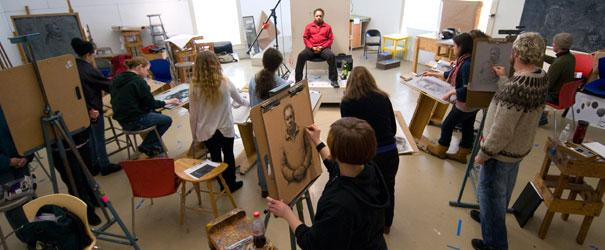 Students at work at Lyme Academy of Fine Arts in Old Lyme.