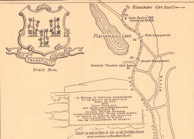 Ridgefield, Connecticut, Founded 1708. Detail showing where General Wooster was shot.