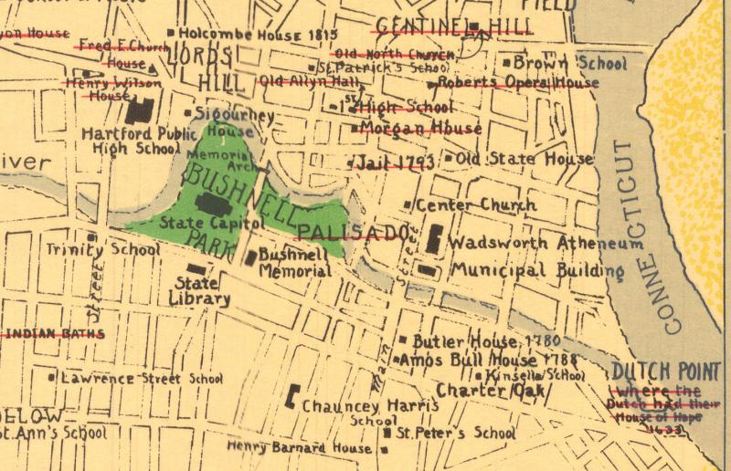 A Cultural and Historical Map of Hartford. Detail of Downtown Hartford.