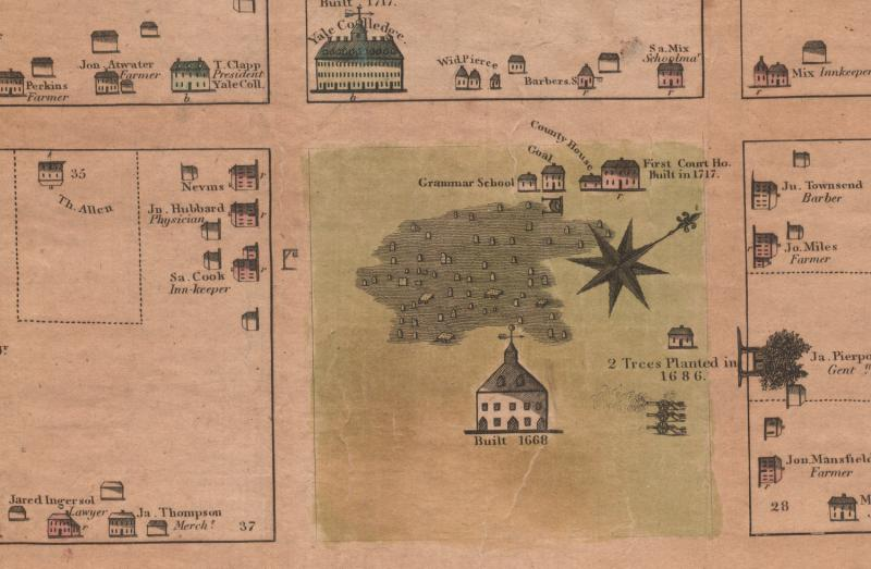 Plan of the Town of New Haven With all the Buildings in 1748. Detail of the Green.