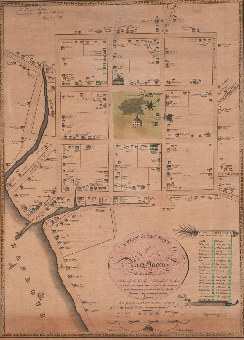 Plan of the Town of New Haven With all the Buildings in 1748.