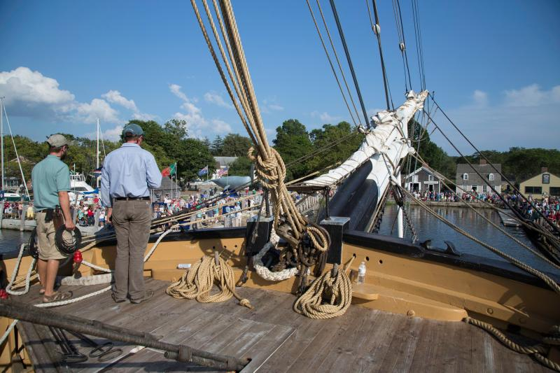 The CHARLES W. MORGAN approaches Chubb's Wharf at Mystic Seaport on August 6.