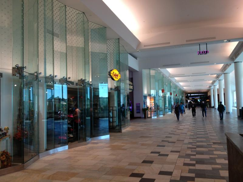 The concourse now has floor-to-ceiling glass facades