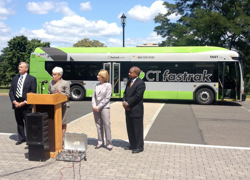 Lt. Gov. Nancy Wyman announces the arrival of the new CTfastrak bus.