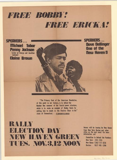 """Free Bobby, Free Erika.  Broadside, 1970. This poster in support of Panthers Seale and Huggins is on view at CHS in the exhibit """"Making Connecticut"""". The Connecticut Historical Society."""