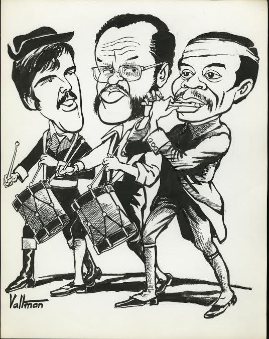 Bobby Seale and Comrades. Drawing by Ed Valtman, probably 1970 or 1971. Seale and his comrades are shown as heroic revolutionaries like the founding fathers. The Connecticut Historical Society, 1995.71.453.