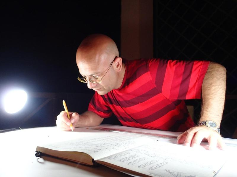 Kroum Batchvarov prepares a site plan for an underwater excavation in Tobago's Rockley Bay in 2013.