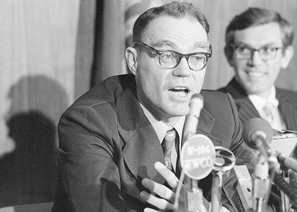 John T. Downey talking in New Britain following his release from China in 1973.