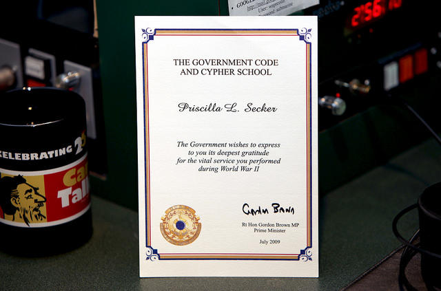 A thank-you note from Prime Minister Gordon Brown for Priscilla's service at Bletchley Park.