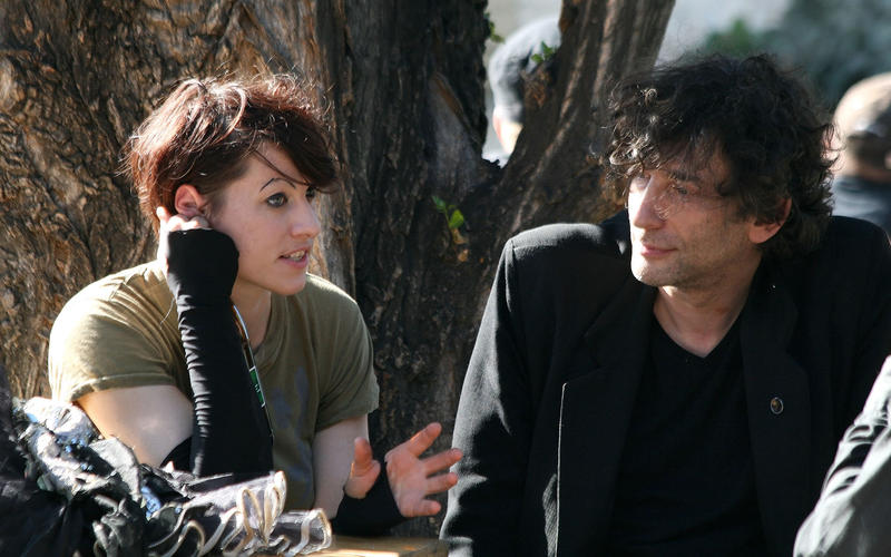 Amanda Palmer and Neil Gaiman during an interview for ORF radio before a concert in Vienna, Austria, in 2011.