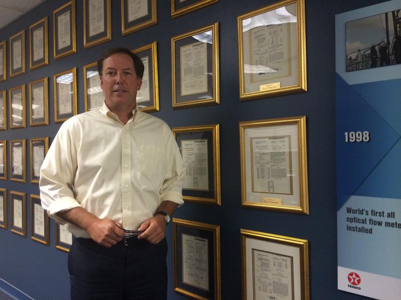 Kevin Didden, CEO of CiDRA Inc. in Wallingford, showcases his company's more than 200 patents.