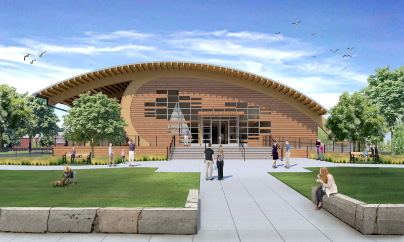 A front rendering of a new exhibition hall planned for Mystic Seaport.