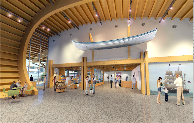 A lobby rendering for a new exhibition hall planned for Mystic Seaport.