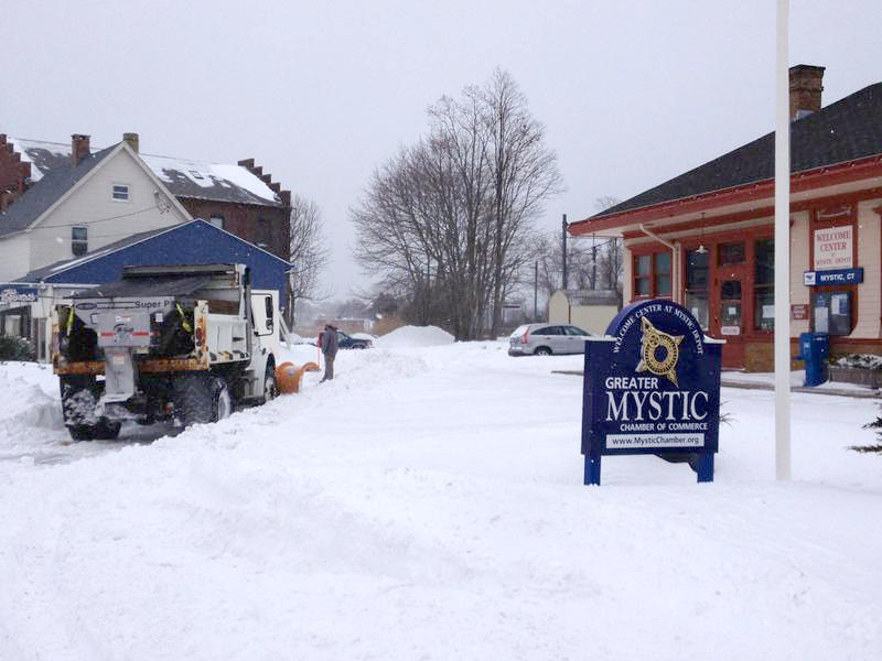 Mystic's train station buried in snow in January, 2015.