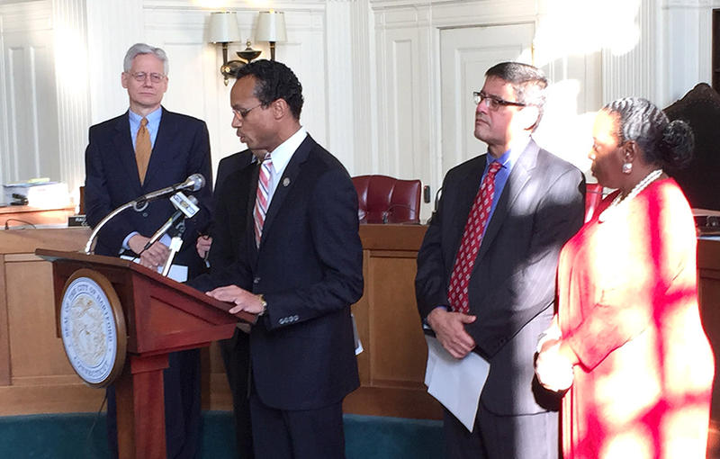 From left, attorney James Rotondo, Hartford City Council President Shawn Wooden, City Councilman Alex Aponte, and City Councilwoman Cynthia Jennings.