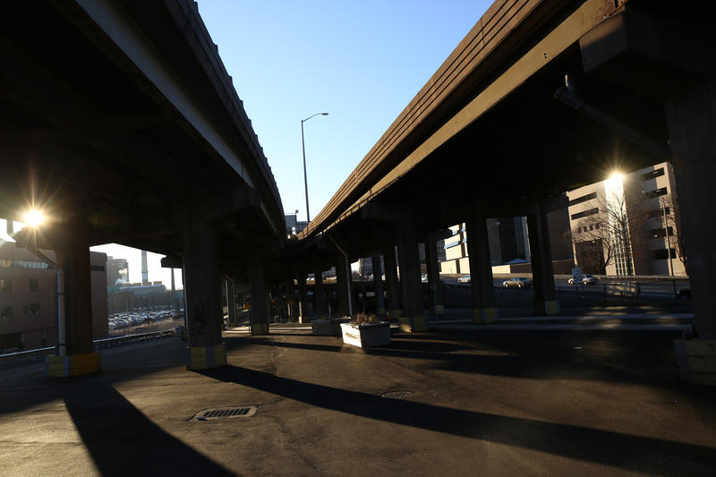 An elevated section of I-84 through Hartford is known as a major dividing barrier in the city.