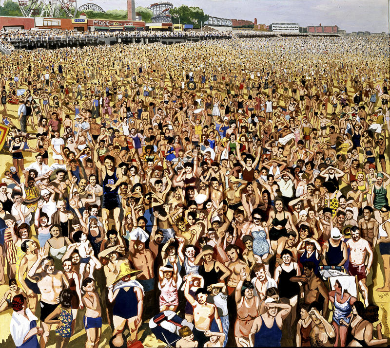 "Red Grooms's painting ""Weegee 1940"" greets you at the entrance of ""Coney Island:Visions of an American Dreamland, 1861-2008"" with a denisity of humanity that occupies Coney Island every summer."