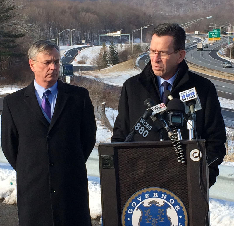 "On January 22, Gov. Dannel Malloy and DOT Commissioner James Redeker (at left) announced the need to widen I-84 in Danbury, calling it ""critical for economic growth in western Connecticut."""