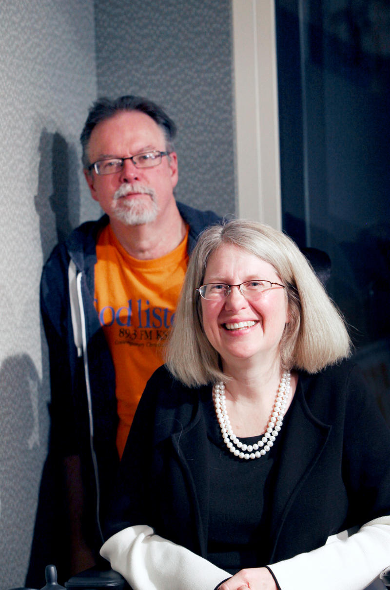 Colin McEnroe and Nancy Butler, the founder of Riverfront Family Church.