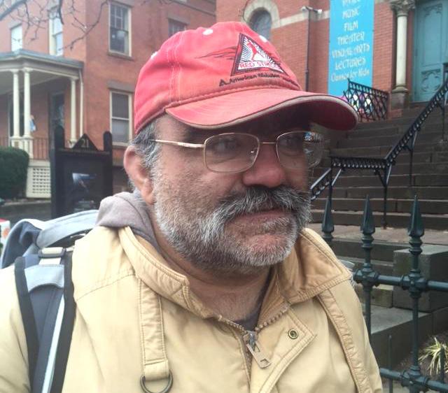 Sal Pinna outside the Charter Oak Cultural Center in Hartford.