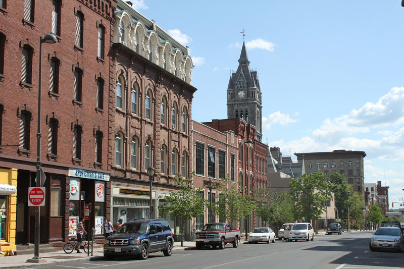 A commercial block in downtown Holyoke, Massachusetts.