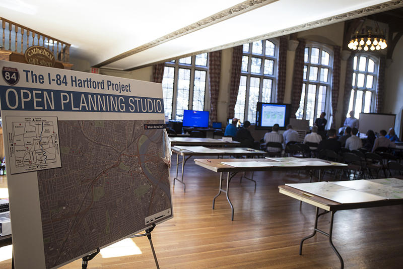 The I-84 Hartford Project's open planning studio in downtown Hartford.