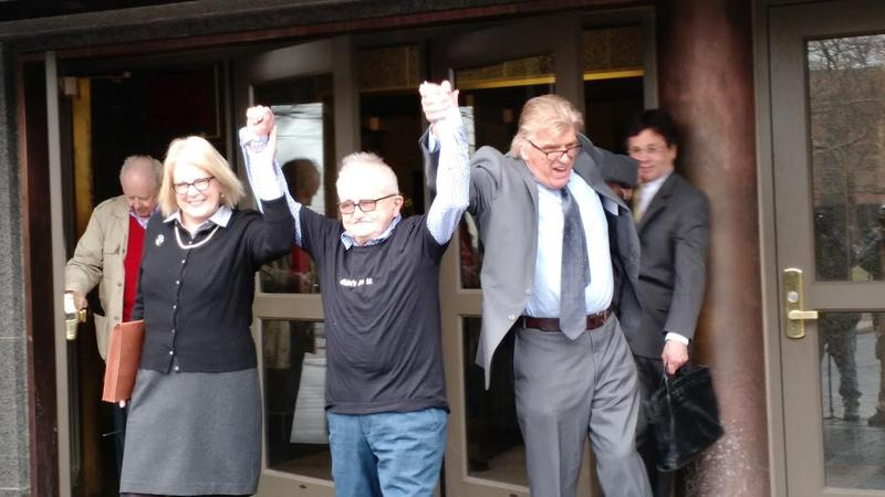 Richard Lapointe, center, outside Hartford Superior Court on Friday with Kate Germond, left, and Paul Casteleiro, right, of Centurion Ministries.