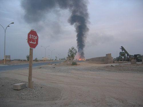 A burn pit in Balad, Iraq