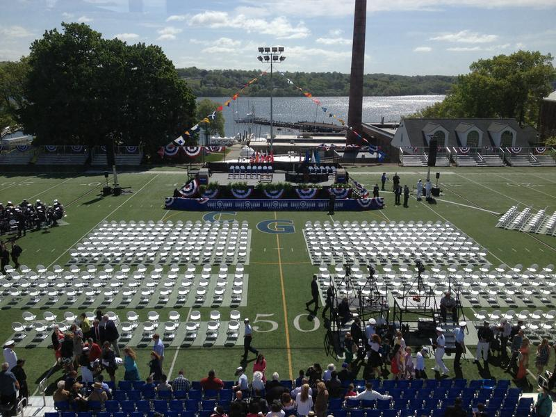 Cadet memorial field at the U.S. Coast Guard Academy in New London awaits the class of 2015 and President Barack Obama.
