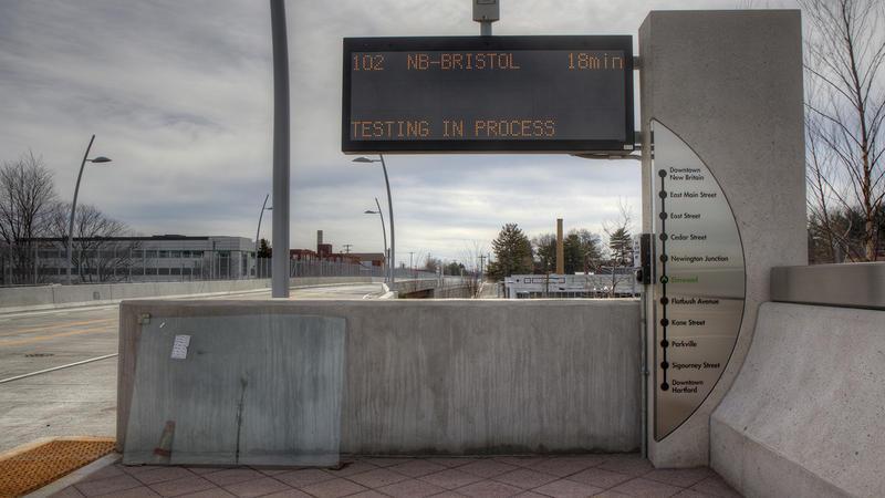 A CTfastrak platform in West Hartford.