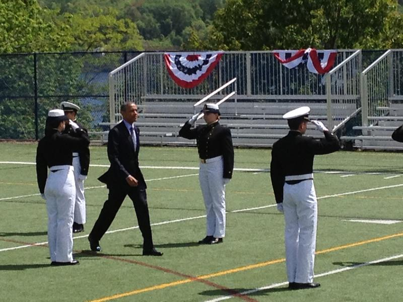 President Barack Obama arrives at the U.S. Coast Guard Academy on Wednesday.