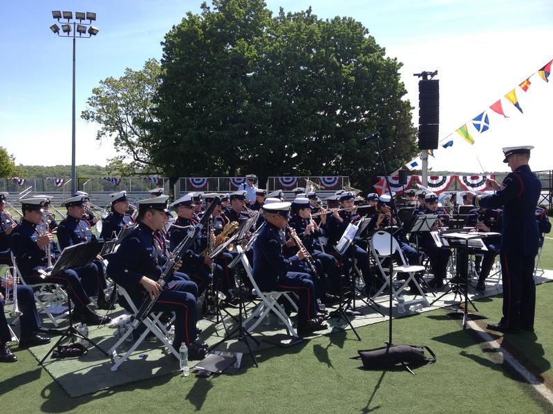 The U.S. Coast Guard band plays for the crowd as it awaits the start of commencement.