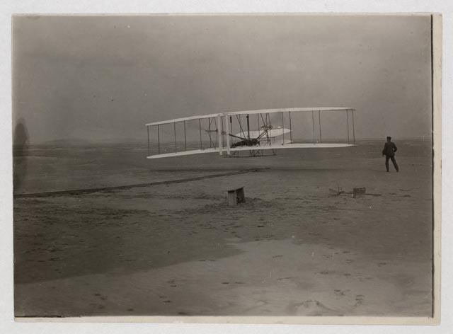 The Wright brothers' first flight on December 17, 1903 in Kitty Hawk, North Carolina.
