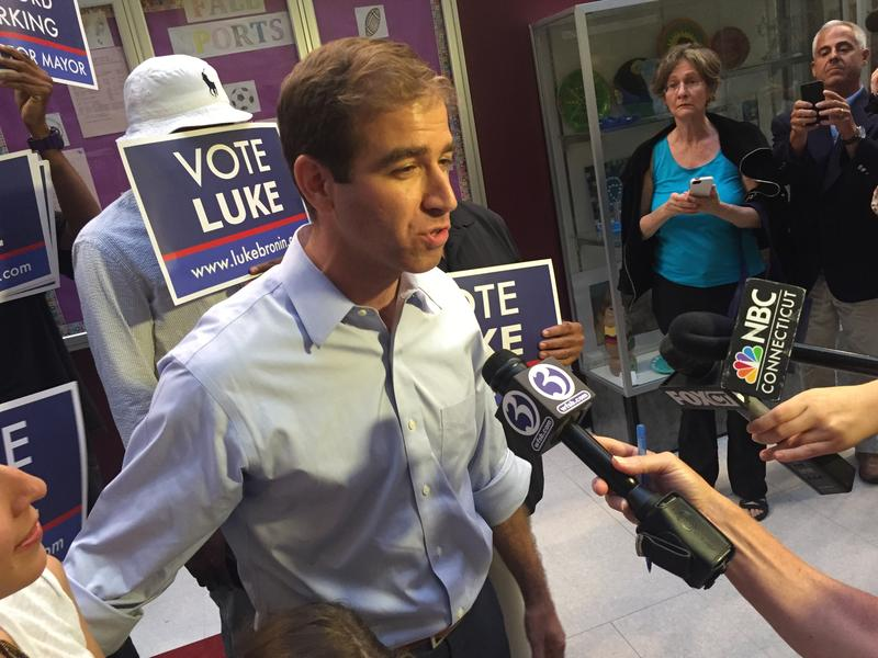 Luke Bronin, the Democratically endorsed mayoral candidate in Hartford, after his win.