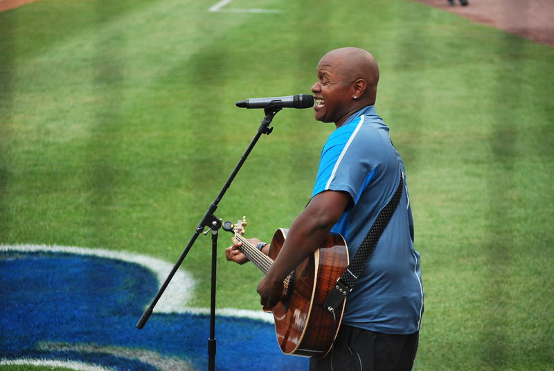 Javier Colon performs the national anthem.