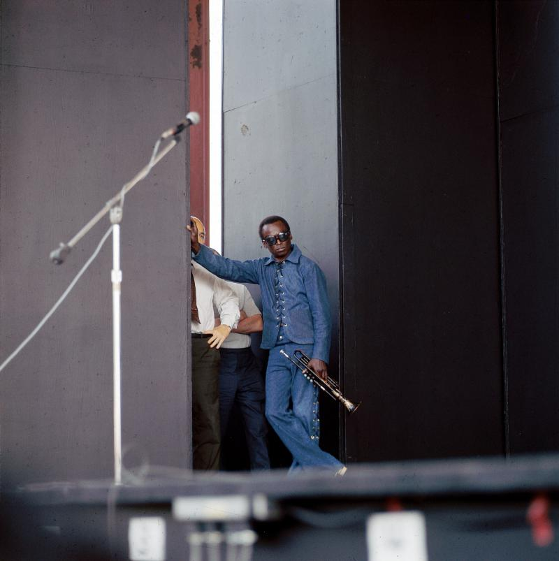 Miles Davis offstage at the Newport Jazz Festival in 1969.
