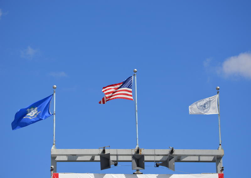 Flags fly over the Connecticut Tennis Center's Stadium Court, the world's sixth-largest tennis venue.