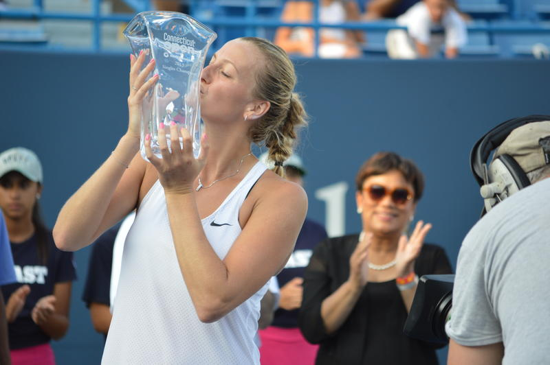 Petra Kvitová with her championship trophy after the 2015 Connecticut Open tennis tournament ended today in New Haven.
