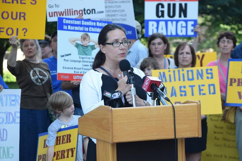 Willington First Selectman Christine Mailhos speaks at an unWillington rally.