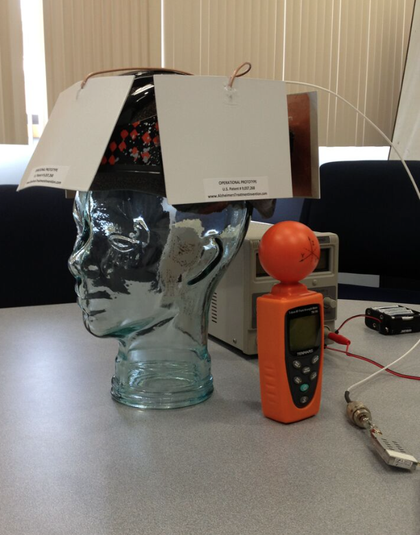 A prototype of the device Knight hopes will combat Alzheimer's Disease.