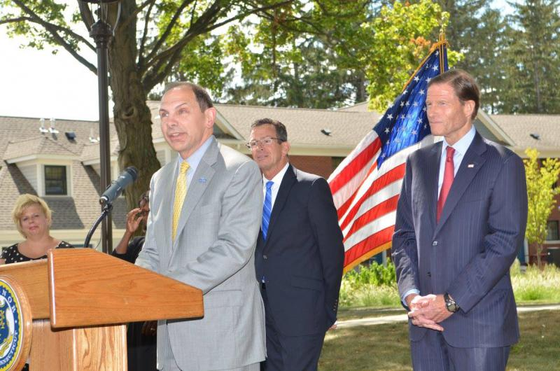 VA Secretary Robert McDonald gives remarks at a press conference to announce that Connecticut has ended chronic homelessness among veterans.