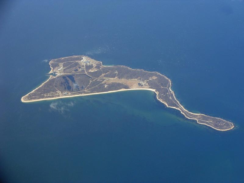 Aerial view of Plum Island, New York.