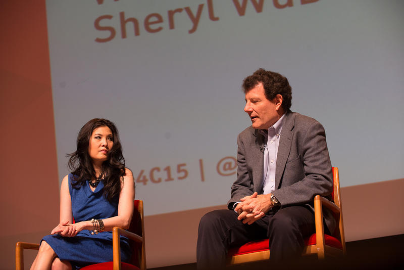Sheryl WuDunn and Nicholas Kristof speak at the 2015 Games for Change Festival in New York City.