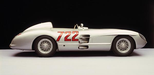 """The car that won the 1955 Mille Miglia in record-breaking time, driven by Stirling Moss and Denis Jenkinson: the Mercedes-Benz 300 SLR """"722""""."""