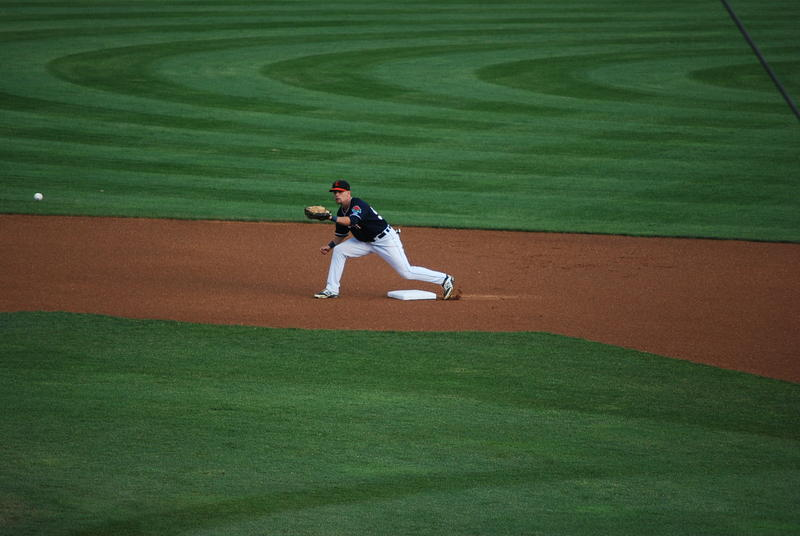 Pat Mackenzie playing second base for the Connecticut Tigers during a game in July.