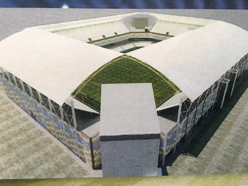 A rendering of a proposed professional soccer stadium in Hartford, located where Dillon Stadium is now.