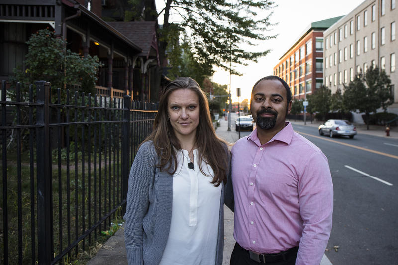 Aaron Gill and his wife Maja on Capitol Ave. in Hartford.
